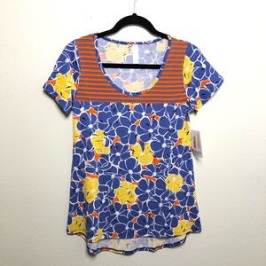 LulaRoe Classic T Flower and Stripes Graphic